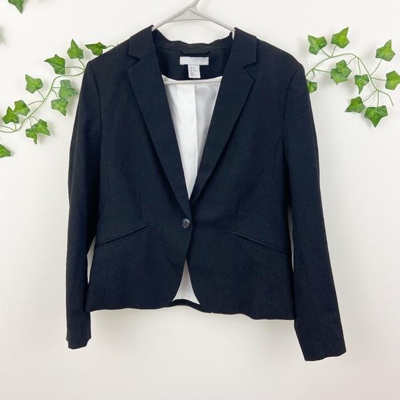 H&M black button business casual blazer suit jacket Sz 14